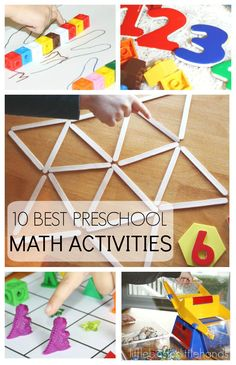 10 Back To School Preschool Math Activities for preschool and toddler age kids. Hands on math activities for counting, letter recognition, shapes, and more. Use sensory play and homemade games for learning math activities.