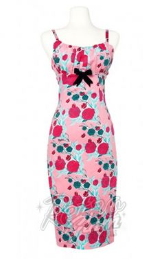 ffc05771dd8 sexy silhouette for your bridesmaids dresses. Retro Glam - PinUp Couture  Mary Blair Evangeline Dress in Lips and Roses Print in Pink