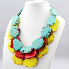 3 Layer Multi-color Turquoise Statement Necklace