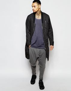Image 4 ofASOS Bomber Jacket In Extreme Longline With Drop Collar in Black