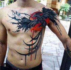 Colored pheonix tattoo