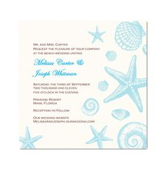 Seashell Wedding Invitation or Bridal by TreasuredMomentsCard, $16.99