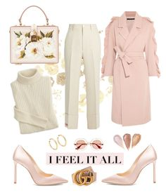 """Pink morning"" by yehuda-eti on Polyvore featuring Jimmy Choo, Mother of Pearl, Gucci, Dolce&Gabbana and Jennifer Fisher"