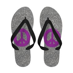 Fuchsia Splat Painted Peace Sign ~ Flip Flops.  $36.95