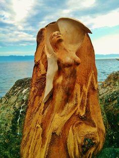 Spirit Shell Dancer Driftwood Goddess with Shell by ShapingSpirit