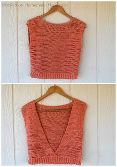 Crochet Blusas Patterns Summer Valley Top By Breann - Free Crochet Pattern - (hookedonhomemadehappiness) - How fun is this Summer Valley Crochet Top Pattern? The back is completely open, which makes it totally perfect for summer! Pull Crochet, Mode Crochet, Crochet Baby, Knit Crochet, Crochet Vests, Crotchet, Crochet Motif, Easy Crochet, Black Crochet Dress