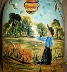 Etched handpainted amish boy and bee hive !!