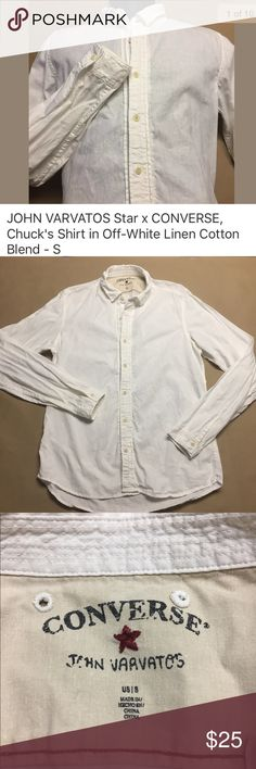 """John Varvatos for Converse Linen-Cotton Shirt John Varvatos for Converse Linen-Cotton (55% Linen, 45% Cotton) long sleeved button down shirt in Antique/Off White. Pictures are that of the actual shirt you will receive. Excellent condition. NO rips, holes, stains or missing buttons. Laundered, clean and ready to ship.  Size on tag: S Measures approximately: 20"""" from armpit to armpit 27"""" from shoulder to cuff 27.5"""" length John Varvatos Shirts Casual Button Down Shirts"""