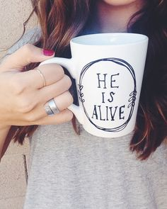He is Alive // Coffee Mug // Jesus Mug // by CupfullofJoy on Etsy