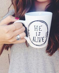 He is Alive // Coffee Mug // Jesus Mug // by CupfullofJoy on Etsy