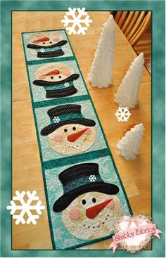 "Patchwork Snowman Table Runner Kit: What a fun way to celebrate winter! This quick and easy table runner project features easy patchwork and simple applique. Kit includes pattern and all fabrics including wool felt, binding and backing. Snowflakes are also included. Finished size of 12 1/2"" x 53"". Designed by Jennifer Bosworth of Shabby Fabrics. $54"