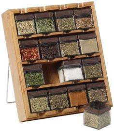 Kamenstein Bamboo Inspirations 16-Cube Spice Rack with Free Spice Refills for 5…