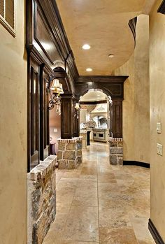Stone, color, wide hallway with great lighting. Totally my style.