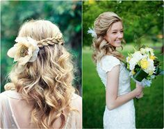 cute and easy half up and down hairstyle with wavy hair extension clip in