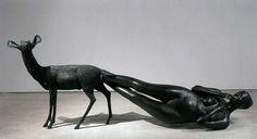 Artist: Kiki Smith   shows a human emerging from the body of an animal…