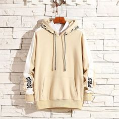 Two-tone outer arm Cream Best Hoodies For Men, Japanese Streetwear, Hoodie Outfit, Hip Hop Fashion, Harajuku, Fashion Outfits, Men Fashion, Kaftan, Beige