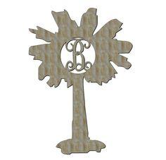 Unfinished Wood SC Palmetto Vine Monogram in 23 inch tall Door Hanger