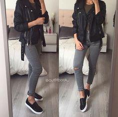 Slip on black sneakers, gray skinnies and black leather jacket