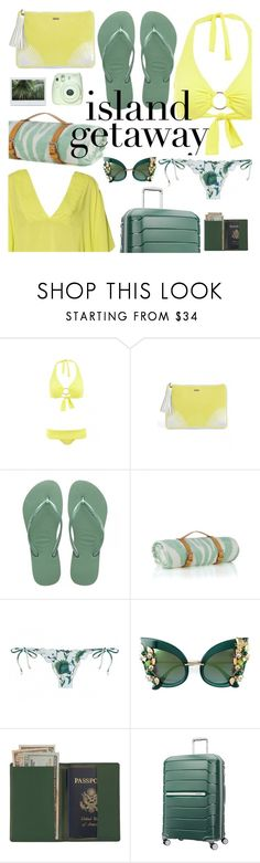 """Island getaway"" by sanddollardubai on Polyvore featuring Melissa Odabash, ViX, Havaianas, Maslin & Co., Dolce&Gabbana, Royce Leather and Samsonite"