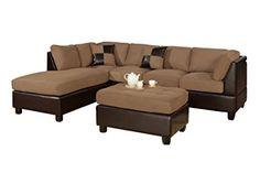 Bobkona Hungtinton Microfiber/Faux Leather 3-Piece Sectional Sofa Set, Saddle