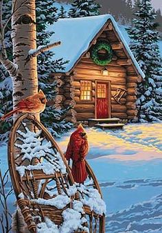 Blockhaus Abmessungen Cardinals & Cabin (Winterszene) Paint By Number Kit # 91397 A diabetic can use Cabin Christmas, Christmas Scenes, Christmas Art, Winter Painting, Diy Painting, Winter Szenen, Paint By Number Kits, Christmas Paintings, Jolie Photo