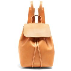 Mansur Gavriel Mini unlined leather backpack (74980 ALL) ❤ liked on Polyvore featuring bags, backpacks, light tan, leather rucksack, mini rucksack, mini drawstring bags, day pack backpack and drawstring bag