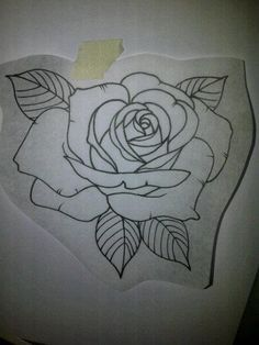 traditional rose - outline