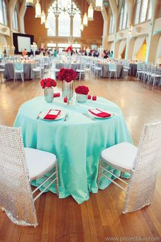 Tiffany Blue and Red Atlanta Wedding at Agnes Scott from Lemiga Events - wedding centerpiece idea; Project Duo