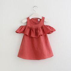 WILLOW Tassel Lotus Ruffles Neckline Cold-Shoulder Dress Melon Red