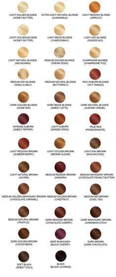Hair Color Charts -- I'm thinking mahogany brown with intense auburn highlights or bayalage