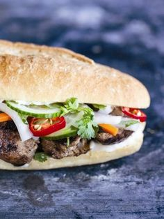 Grilled lemongrass pork sandwich #recipe