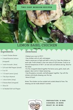 A simple and delicious salad that your family will love. Recipe serving size of Lemon Basil Chicken, Chicken Salad Ingredients, 10 Minute Meals, Meals For Four, Easy Chicken Recipes, Serving Size, Meal Planning, Easy Meals, Stuffed Peppers