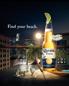 Corona Advertiser: Grupo Modelo S. Brand name: Corona Product: Corona Beer Agency: Cramer-Krasselt New York Country: United States Category: Beers and Ciders Released: June 2012 Ads Creative, Creative Advertising, Fun Drinks, Alcoholic Drinks, Beverages, Mexican Beer, Beer Store, Buy Beer, Montage Photo