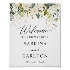 Shop White Rose Gold Leaves Floral Wedding Welcome Sign created by CardHunter. White Roses Wedding, Rose Wedding, Floral Wedding, Bridal Shower Signs, Floral Invitation, Invitation Suite, Welcome To Our Wedding, Personalised Wedding Invitations, Wedding Signs