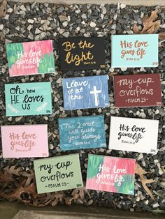 Little mini canvases for Christmas presents || bible verse paintings || His love gives life John 10:10 / Be the light Matthew 5:14 / Leave it at the cross Psalm 55:22 / The Lord will guide you always Isaiah 58:11 / My cup overflows Psalm 23 / Oh how he loves us || Canvases for Christ BMK