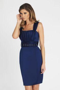 Blue Square Neck Ruched Short Length Bridesmaid Dress