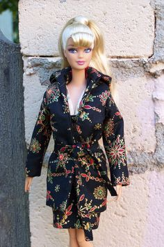 """OOAK """"Ornament"""" formal holiday cocktail dress and coat for Fashionista Barbie by Woven in Time. $25.00, via Etsy."""