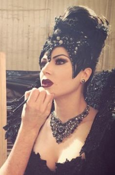 The Evil Queen getting her make up done.                                                                                                                                                                                 More