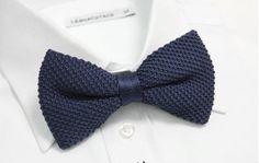 Men Woven Navy Blue Knitted Knit Waffled Wedding Double Layer Pretie Bowtie Tie #BowTie