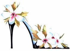 Fine Art Print Flower Shoes Watercolor