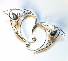 Silver elf ears with labradorite.