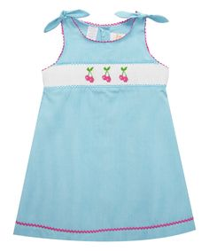 Look what I found on #zulily! Smocked Giraffe Aqua Cherry Smocked A-Line Dress - Infant & Toddler by Smocked Giraffe #zulilyfinds