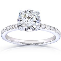 Round Diamond Engagement Ring 1 4/5 Carat (ctw) in 14k White Gold (Certified | RIngs . Beautiful, Elegant Diamond Ring for Engagement and Wedding