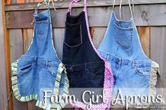 These cute denim aprons are actually for sale. She also has a step-by-step tutorial for how to make your own if you have sewing skills