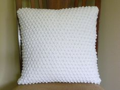 Nubby crocheted white pillow by MartysPillows on Etsy, $35.00