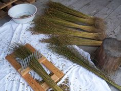 Have you tried spinning flax? I love opening a new strick and imagining all of the textile possibilities for the long, lustrous fibers. Flax Weaving, Loom Weaving, Basket Weaving, Tapestry Weaving, Yarn Crafts, Diy And Crafts, Arts And Crafts, Spinning Wool, Hand Spinning
