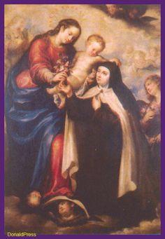 La Santa en presencia de la Reina del Cielo y su Hijo divino.