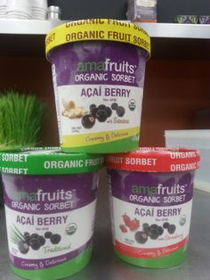 **NEW & Now in Stock: Organic Acai Berry Sorbet from Amafruits! 3 Flavors to choose from: Pure Acai, Acai-Banana and Acai -Strawberry