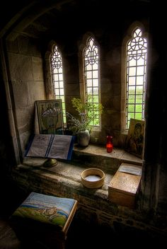 A quiet room in Iona's Abbey in Scotland (Isle of Mull) medieval gothic stone windows