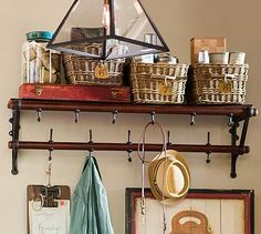 French Cafe Entryway Rack #potterybarn  This will work in that space too, with a small mat for shoes underneath
